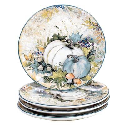 9 in. Harvest Gatherings Multicolored Earthenware Dessert Plate (Set of 4)