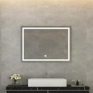 36 in. W x 28 in. H Single Wall Mounted Anti-Fog Frameless Rectangular LED Light Bathroom Vanity Mirror in Silver