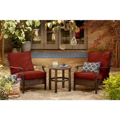Harper Creek 3-Piece Brown Steel Outdoor Patio Chair Set with Sunbrella Henna Red Cushions