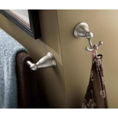 Brantford 4-Piece Bath Hardware Set with 18 in. Towel Bar, Paper Holder, Towel Ring, and Robe Hook in Brushed Nickel