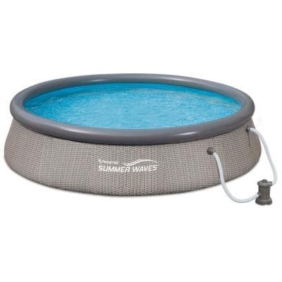 12 ft. W x 36 in. Round 36 in. D Gray Quick Set Ring Inflatable Above Ground Pool with Pump