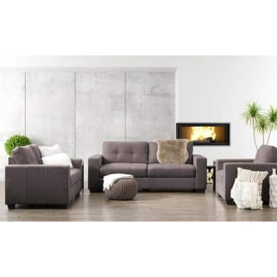 Club 3-Piece Tufted Grey Chenille Fabric Sofa Set