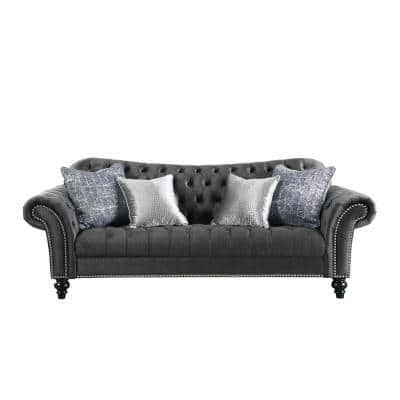 Gaura 96 in. Dark Gray Polyester 3-Seater Bridgewater Sofa with Round Arms