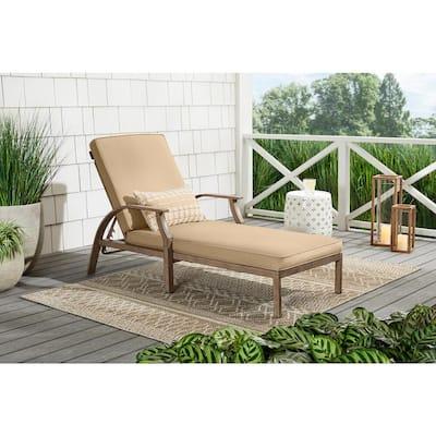 Geneva Brown Wicker Outdoor Patio Chaise Lounge with Sunbrella Beige Tan Cushions