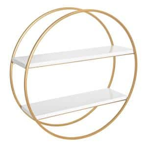 Sequoia 24 in. x 24 in. x 7 in. White/Gold Decorative Wall Shelf