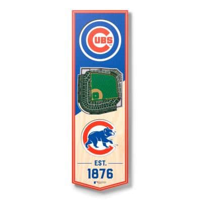 MLB Chicago Cubs 6 in. x 19 in. 3D Stadium Banner-Wrigley Field