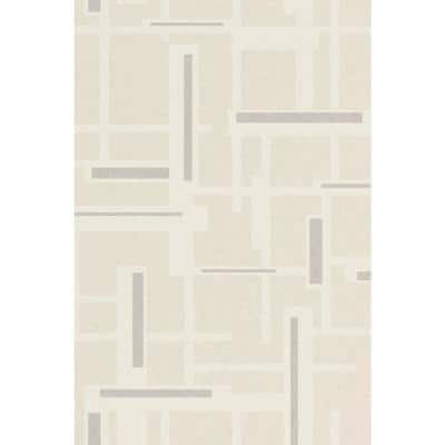 Geometric Intersect Wallpaper Beige Paper Strippable Roll (Covers 57 sq. ft.)