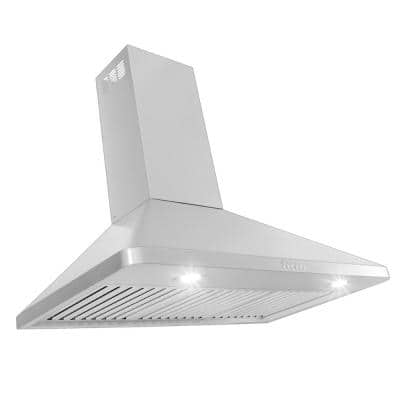 36 in. 900 CFM Ducted Wall Mount with Light in Brushed Stainless Steel