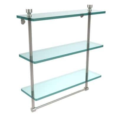 Foxtrot 16 in. L  x 18 in. H  x 5 in. W 3-Tier Clear Glass Bathroom Shelf with Towel Bar in Polished Nickel