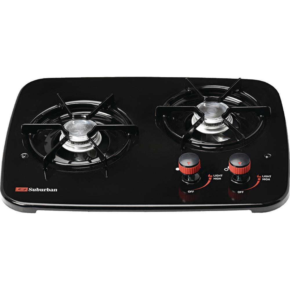 Black 2-Burner Drop-In Cooktop