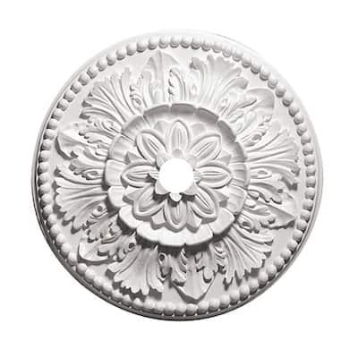 24 in. Grecian Leaves White Primed Polyurethane Ceiling Medallion