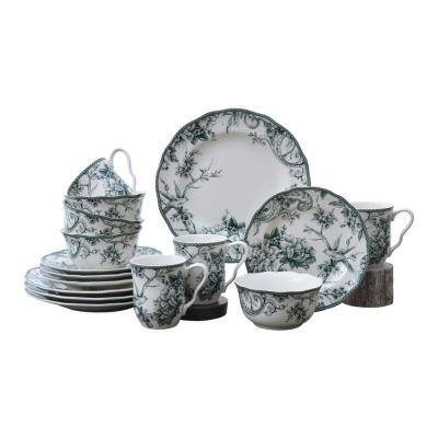 Adelaide 16-Piece Green Porcelain Dinnerware Set