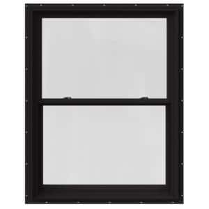 37.375 in. x 48 in. W-2500 Series Black Painted Clad Wood Double Hung Window w/ Natural Interior and Screen