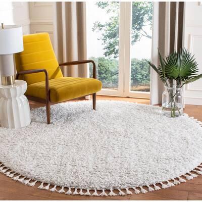 Flokati Ivory/Grey 7 ft. x 7 ft. Round Area Rug