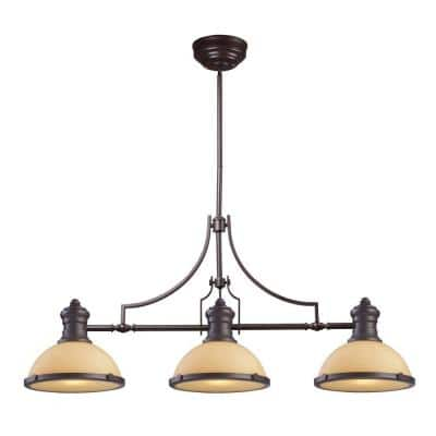 Chadwick 3-Light Oiled Bronze Island Light With Amber Glass Shades