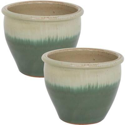 Chalet 12 in. Light Green Ceramic Indoor/Outdoor Planter (Set of 2)