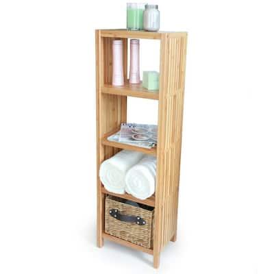 Deluxe 14 in. x 10 in. x 43 in. Freestanding Bathroom Organizing 5-Tier Shelf in Bamboo