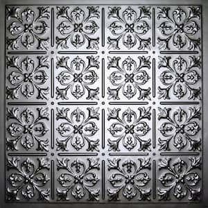 Fleur-de-lis Black 2 ft. x 2 ft. Lay-in or Glue-up Ceiling Panel (Case of 6)