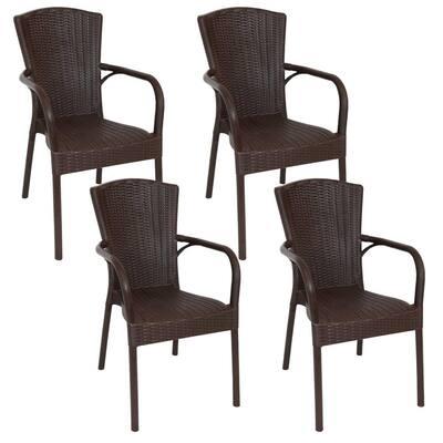 Segesta Wenge Plastic Indoor Outdoor Patio Armchair (Set of 4)
