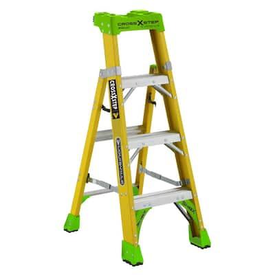 4 ft. Fiberglass Cross Step Ladder with 375 lbs. Load Capacity Type IAA Duty Rating