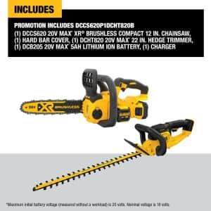 12 in. 20V MAX XR Cordless Brushless Chainsaw with 22 in. 20V Cordless Hedge Trimmer