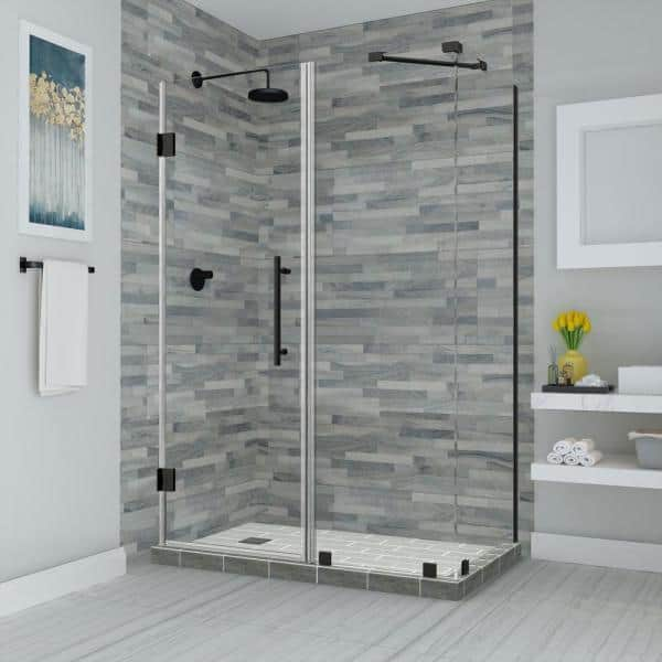 Aston Bromley 48 25 In To 49 25 In X 36 375 In X 72 In Frameless Corner Hinged Shower Enclosure In Matte Black Sen967ez Mb 492736 10 The Home Depot
