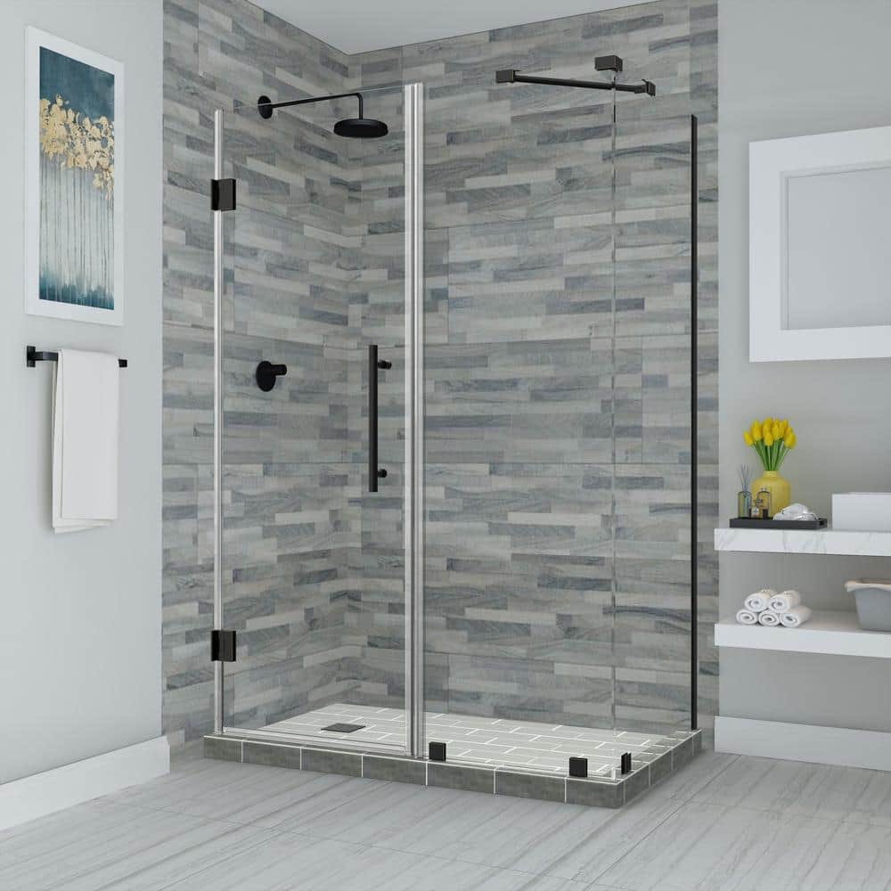 Aston Bromley 46 25 In To 47 25 In X 36 375 In X 72 In Frameless Corner Hinged Shower Enclosure In Oil Rubbed Bronze Sen967ez Orb 472536 10 The Home Depot