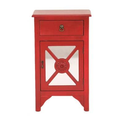 Shelly Assembled 18 in. x 13 in. x 30 in. Red Wood Glass Accent Storage Cabinet with a Drawer