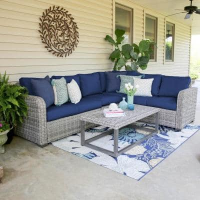 Forsyth 5-Piece Wicker Outdoor Sectional Set with Navy Cushions