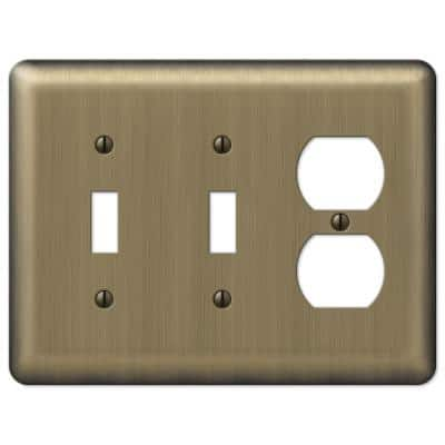 Brass 3-Gang 2-Toggle/1-Duplex Wall Plate (1-Pack)