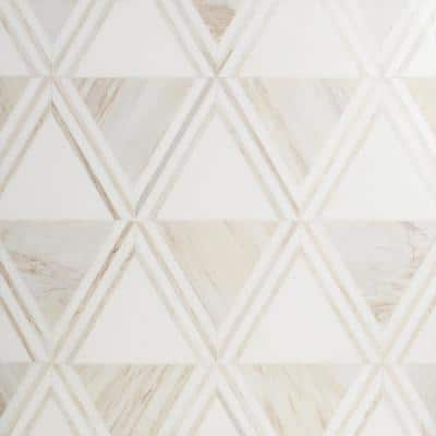 Ruit Beige 13.54 in. x 15.63 in. Polished Marble Mosaic Tile (1.47 sq. ft./Each)