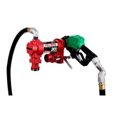 12-Volt 20 GPM 1/4 HP Fuel Transfer Pump (Auto Nozzle with Swivel Package)