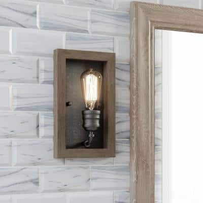 Palermo Grove 1-Light Gilded Iron Sconce with Painted Walnut Wood Accents