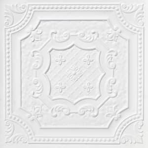 Elizabethan Shield 2 ft. x 2 ft. Glue Up PVC Ceiling Tile in White Matte (100 sq. ft./case)