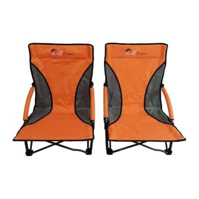 Low Profile Aluminum Frame Foldable Beach Chair (2-Pack) with Backpack Carry Case
