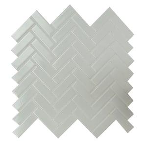 Retro Bianco Herringbone 12.2 in. x 10.83 in. x 6 mm Glossy Porcelain Mosaic Tile (13.8 sq. ft. / case)