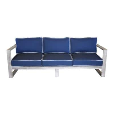 North Shore Collection 3-Person Teak Outdoor Sofa with Navy Cushions