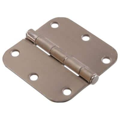 3-1/2 in. Satin Nickel Residential Door Hinge with 5/8 in. Round Corner Removable Pin Full Mortise (5-Pack)