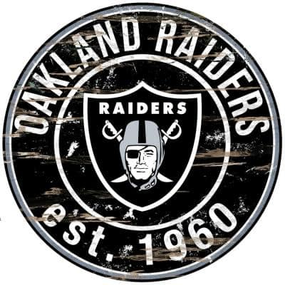 """24"""" NFL Oakland Raiders Round Distressed Sign"""