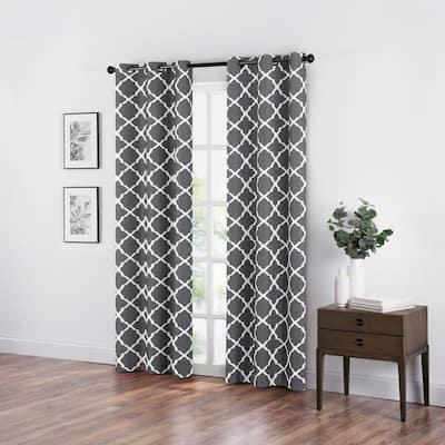 Fret Smoke Blackout Window Curtain - 42 in. W x 84 in. L