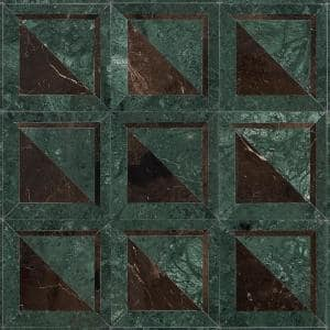 Ruit Square Green 8.5 in. x 8.5 in. Polished Marble Mosaic Tile (0.50 sq. ft./Each)