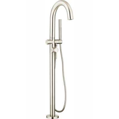 Contemporary Round Single-Handle Freestanding Tub Filler for Flash Rough-in Valve with Hand Shower in Brushed Nickel