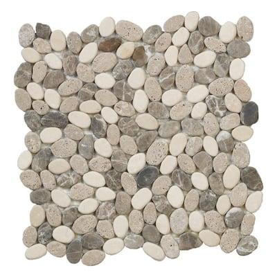 Emperador River Rocks Cream 11.5 in. x 11.5 in. Interlock Travertine/Marble Wall and Floor Mosaic Tile