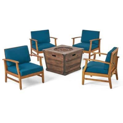 Mark Teak Brown 5-Piece Wood Patio Fire Pit Seating Set with Blue Cushions