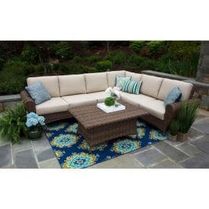 Aspen 5-Piece Resin Wicker Outdoor Sectional with Sunbrella Spectrum Sand Cushions