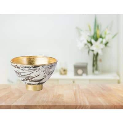 Roma Brown/White Ceramic Bowl with Gold Accents