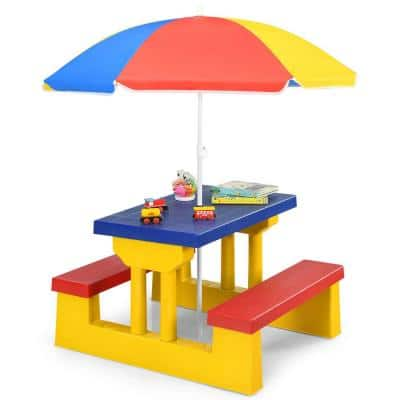 Kids Rectangular Plastic Outdoor Picnic Table with Bench and Umbrella