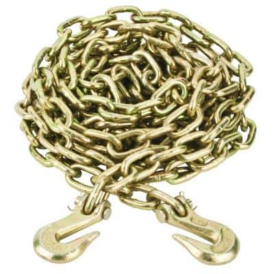5/16 in. x 20 ft. Grade 70 Yellow Zinc Plated Steel Tow Chain with Grab Hooks