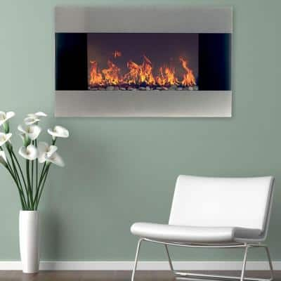 35 in. Stainless Steel Electric Fireplace with Wall Mount and Remote in Silver
