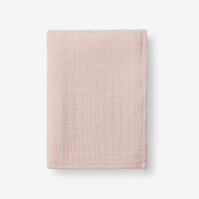 Gossamer Rose Water Solid Cotton Woven Throw Blanket